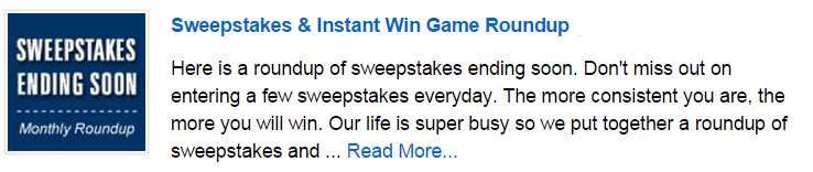 Sweepstakes ending this month