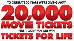 win movie tickets for life fro moviefone