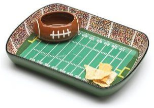 hand painted ceramic dip and chip bowl football