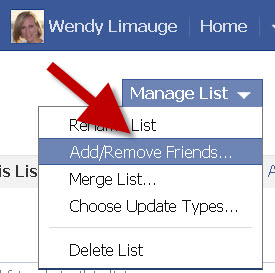 facebook add remove lists