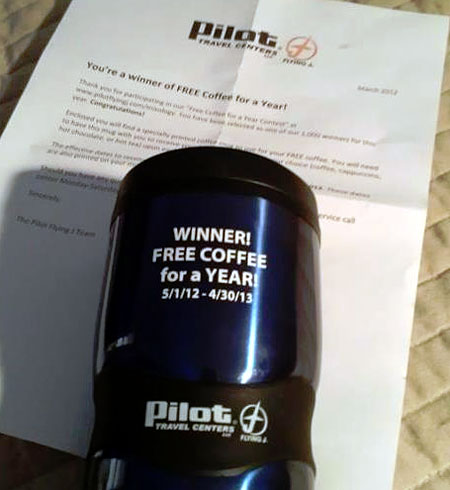 Pilot Center free coffee for a year prize