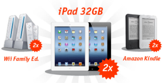 win a kindle, ipad3, or wii