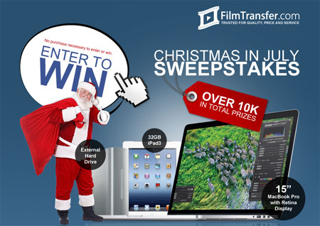 filmtransfer christmas in july, win a macbook