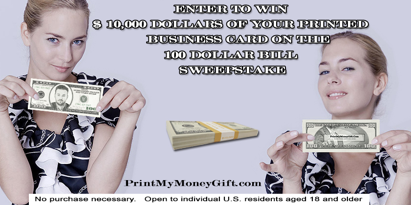 $100 Dollar Bill Business Card Giveaway