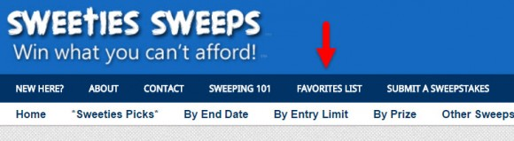Sweepstakes Favorite List on Sweeties Sweeps