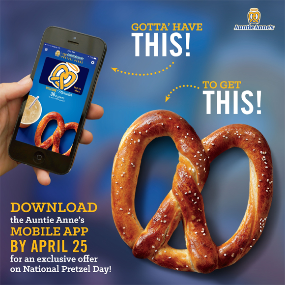 Auntie Anne's National Pretzel Day FREE Pretzel Giveaway
