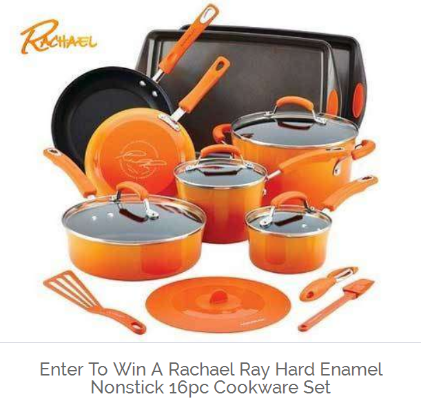 Click Here to Enter to win a Rachael Ray Hard Enamel Nonstick 16pc Cookware Set. Drawing July 29th