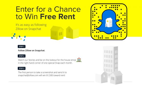 Win Free Rent from Zillow on Snapchat