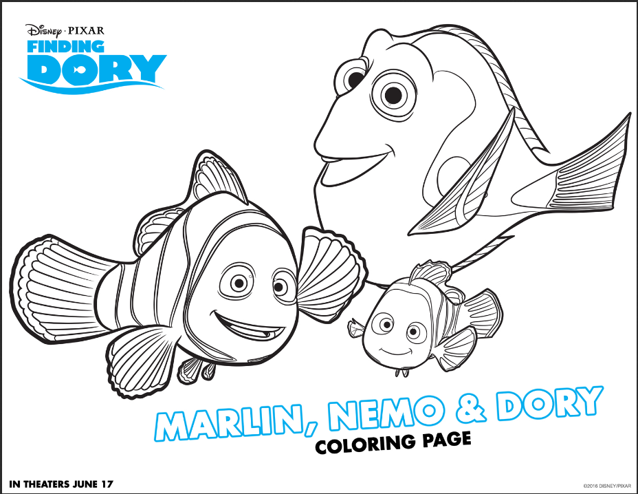 Free Finding Dory coloring pages