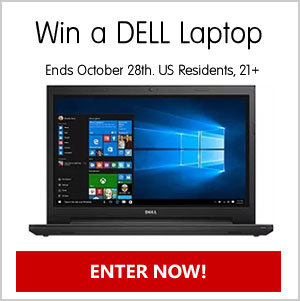Click Here to Win Enter For A Chance To Win A Dell Inspiron 15.6 Inch Laptop. No purchase necessary. Drawing October 28th