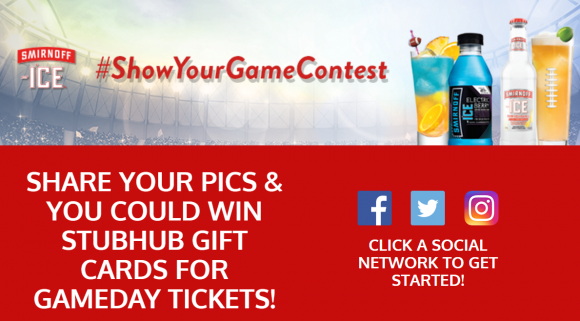 Click Here to Enter for your chance to win one of the weekly $250 gift card prizes from Smirnoff Ice Show Your Game Contest