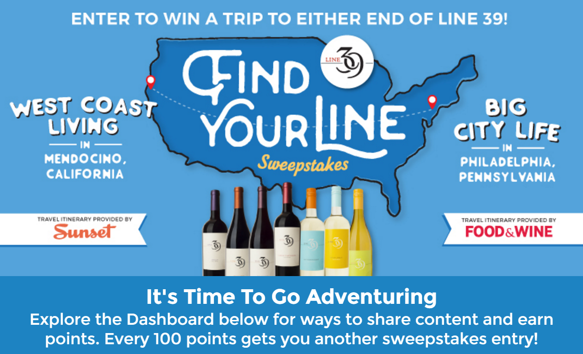 "Line 39 Wines ""Find Your Line"" Sweepstakes"
