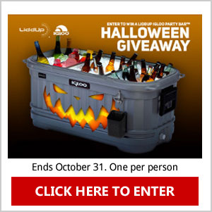 Click Here to enter the LiddUp Coolers Halloween Giveaway for a chance to Win a LiddUp Igloo Party Bar. Ends October 31