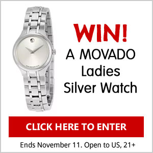 Click Here to enter to win a MOVATO Ladies Silver Watch. US, 21+ Ends Nov 11