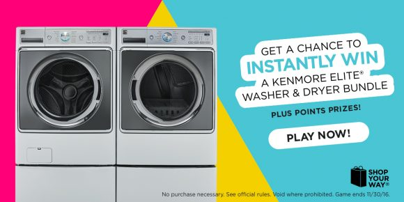 Shop Your Way Kenmore Elite Washer and Dryer Instant Win Game