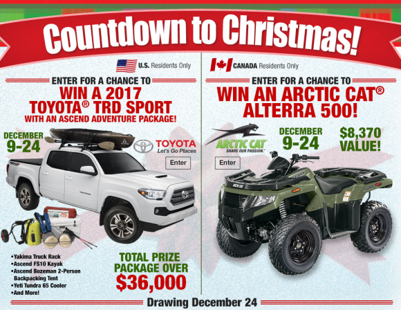 Bass Pro Shop Countdown to Christmas Sweepstakes