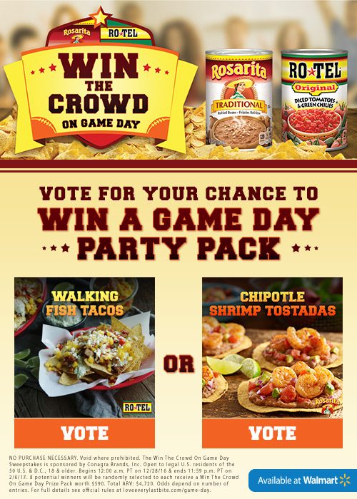 Vote for your favorite game time recipe for your chance to win a $590 Game Day party Pack #WinTheCrowdWM #sponsored