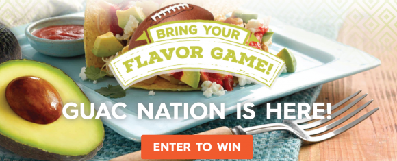 """Win the Ultimate """"Big Game"""" Package (awarded as a $5,000 check) or one of sixty $250 Gift Cards from the Avocados From Mexico Guac Nation Sweepstakes"""