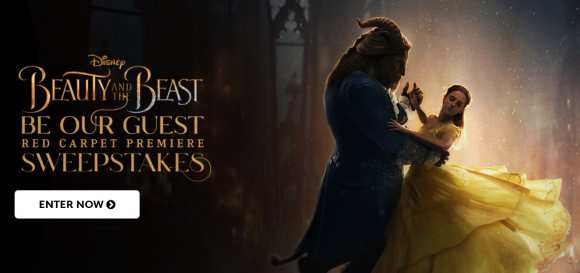 Enter for your chance to win a trip for two to attend the Red Carpet Premiere of Beauty and the Beast in Los Angeles, California if you are the grand prize winner in the Disney Movie Rewards Be Our Guest Red Carpet Premiere Sweepstakes