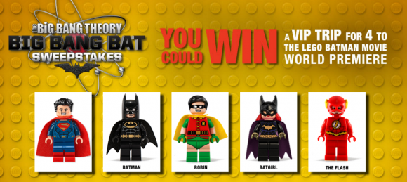 Click Here for The Big Bang Theory Big Bang Bat Sweepstakes daily answer. Enter it and you could win a trip to the Big Bang Theory Set to meet the cast or one of 445 other prizes