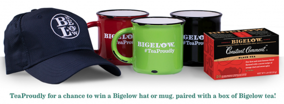 Show Bigelow Tea how you #TeaProudly by sharing a photo of your favorite part of your tea experience – whether it be in your go-to mug, after an amazing meal, on your coziest couch, or anything else that makes you proud to be a part of the tea community! Simply upload a public photo to Instagram or Twitter with the hashtag #TeaProudly for a chance to win a Bigelow prize package. Entries can also be submitted via the official sweepstakes landing page.