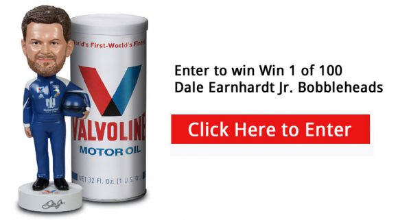 Enter for your chance to win a 1 of 100 Dale Earnhardt Jr. Bobbleheads. Dale Earnhardt, Jr is NASCAR's most popular driver! Valvoline is giving away 100 Dale Earnhardt Jr. bobbleheads, TEN of them autographed by Dale Jr. himself.