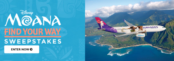 Enter for your chance to win a 7-day trip for four to Honolulu, Hawaii in the Disney Movie Rewards Find Your Way Moana Sweepstakes