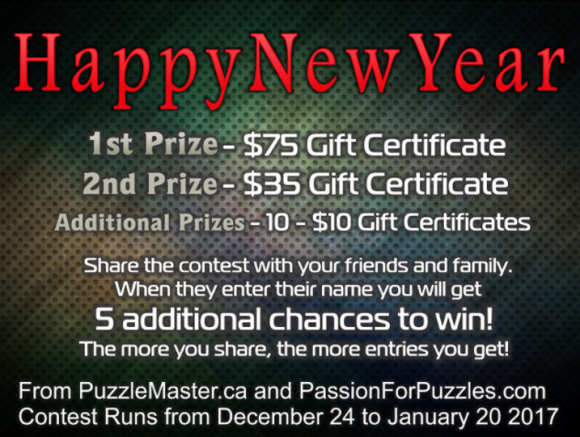 Passion for Puzzles is giving away PassionforPuzzles.com gift certificate prizes