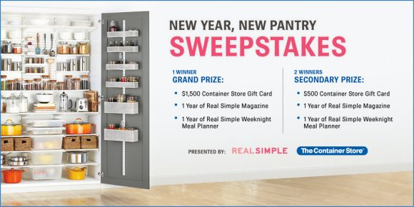 Real Simple Magazine Container Store New Year, New Pantry Sweepstakes