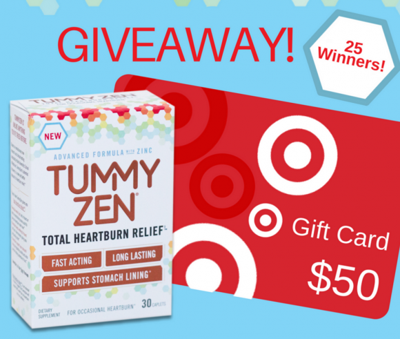 NEW TummyZen is now available exclusively at Target stores nationwide and Target.com, so they're celebrating with a Target gift card giveaway for 25 winners! Enter for your chance to win! Twenty-five (25) winners will receive a $50 Target gift card.
