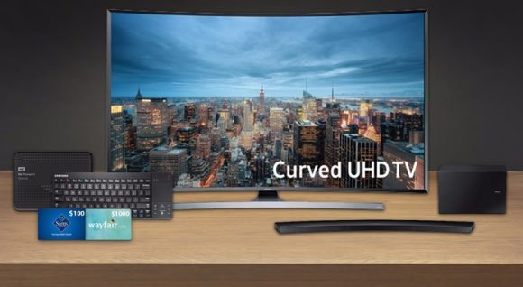 """Enter for a Chance to Win the Ultimate Entertainment Setup for Your Fan Food League Playoff Parties. Enter the Daily Break Club Tyson Playoff Season sweepstakes for your chance to win a 55"""" Curved Smart TV and more."""