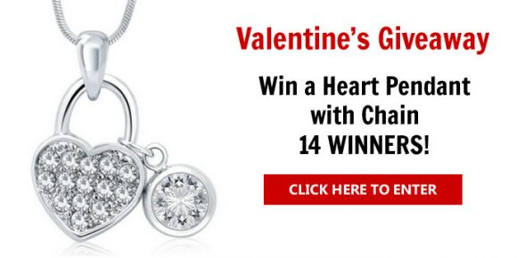 Enter for a chance to win a Heart Pendant with Chain as Valentine Gift. The heart lock pendant is made from gorgeous Austrian crystals and the Chain is Rhodium plated.