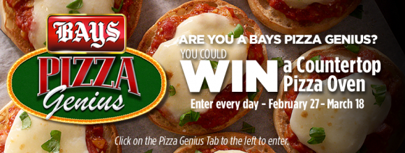 Enter for your chance to win a countertop pizza maker over and two packages of Bays English Muffins to help you make mini bagel pizzas in the Bays English Muffins Pizza Genius Sweepstakes