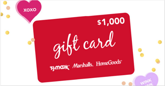 TJMaxx is sharing the love and giving away the chance for 3 lucky members to win $1,000 in T.J.Maxx, HomeGoods and Marshalls gift cards. Plus, you could be one of 100 to win a $100 gift card to T.J.Maxx, HomeGoods, and Marshalls. Play every day until February 14th!