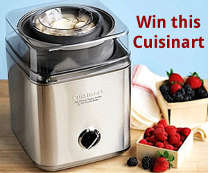 One winner will receive a Cuisinart ICE-30BC Pure Indulgence 2-Quart Automatic Frozen Yogurt, Sorbet, and Ice Cream Maker