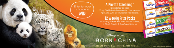 Vote for your favorite Disney Nature Born in China animal for a chance to win a private movie screening, movie tickets, SunRype Snacks and More!
