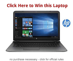 "One winner will receive a HP Pavilion 15.6"" Touchscreen High Performance HD Laptop"