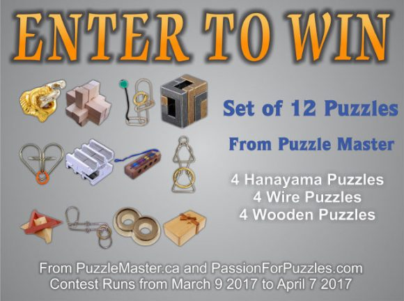 Click Here for your chance to win a prize package worth over $160 from PuzzleMaster.ca. Share with your friends and family and get an additional 5 entries for every person that enters the contest with your link.