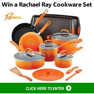 One winner will receive a Rachael Ray Hard Enamel Nonstick 16-pc. Cookware Set - Orange or Red