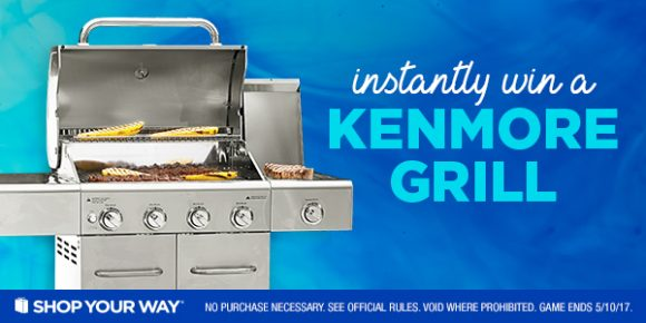 Click Here for your chance to win a Kenmore 4-Burner Gas Stainless Steel Grill with Searing Side Burner or your share of over 83,000 Shop Your Way points.
