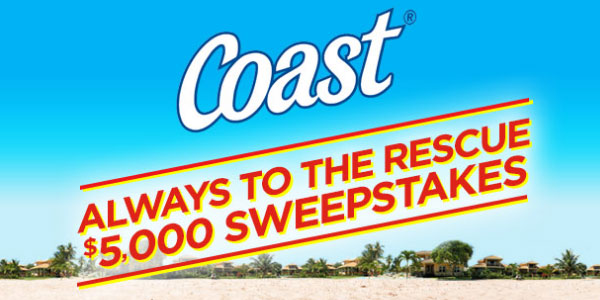 Enter the Coast Soap Baywatch $5,000 Always to the Rescue Sweepstakes daily for your chance to win your share of the $5,000 in cash and prizes