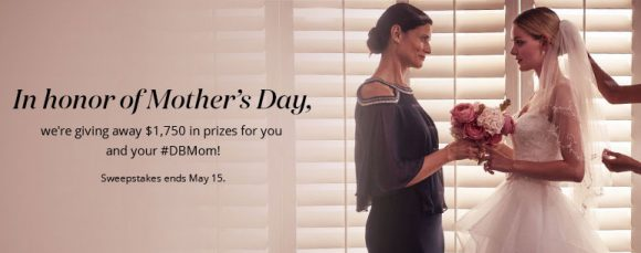 In honor of Mother's Day, David's Bridal is giving away $1,750 in prizes for you and your #DBMom to enjoy! The grand prize winner will get a $1,000 David's Bridal gift card, our first runner-up will get a $500 David's Bridal gift card, and our second runner-up will get a $250 gift card.