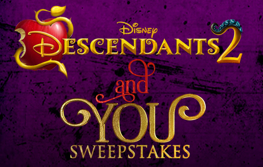 Enter the Disney Descendants 2 and You Sweepstakes daily for your chance to win a trip to LA for a Descendants 2 transformation with Sofia Carson and Cameron Boyce, which will air on Disney Channel!