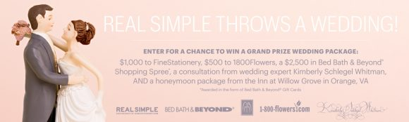 One grand prize winner will receive a honeymoon package at The Inn at Willow Grove worth over $7,700 in The REAL SIMPLE Throws a Wedding Sweepstakes