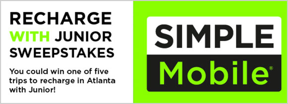 The Steve Harvey Morning Show and Simple Mobile are sending five lucky listeners on a 4-day/3-night vacation for two to Atlanta, GA to recharge with Junior May 18-21! Included are two tickets to see John Legend in concert on May 19th!