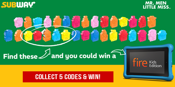 Collect five codes in the Subway Mr. Men & Little Miss Game and win 1 of 5,000 Kindle Fire Kids Edition tablets!