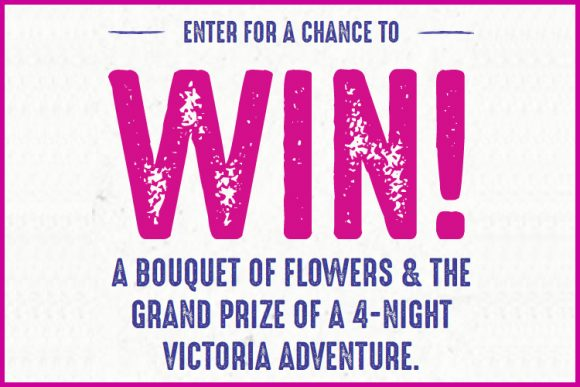 Enter for your chance to win a trip for two to visit Victoria, British Columbia, Canada.  As the oldest city in the Pacific Northwest, Victoria offers over 170 years of unique history. They were chosen by Condé Nast Traveler as one of the top 10 cities in the world – for their gardens, friendly locals, fresh food, funky neighborhoods, rainforest hikes and much more. There are a wealth of experiences waiting for you this Spring in Victoria.