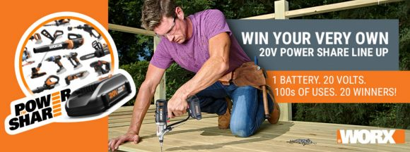WORX wants to share the power with you. Enter NOW to win WORX brand tools #PowerShareFamily WORX wants you to work smarter, not harder. The 20V Power Share family of WORX DIY and yard tools are easy to use and powered by the same MAX Lithium battery so you save time and money.
