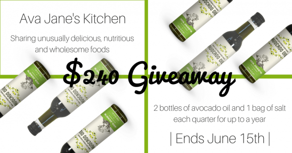 Ava Jane's Kitchen Avocado Oil for a Year Giveaway
