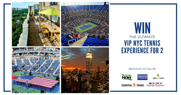 One grand prize winner will receive a three day trip to New York City for two including roundtrip airfare for two, 3 nights stay at a luxury NYC hotel for two, courtside seats to Sunday day and night session at America's Grand Slam for two, transportation to and from the event
